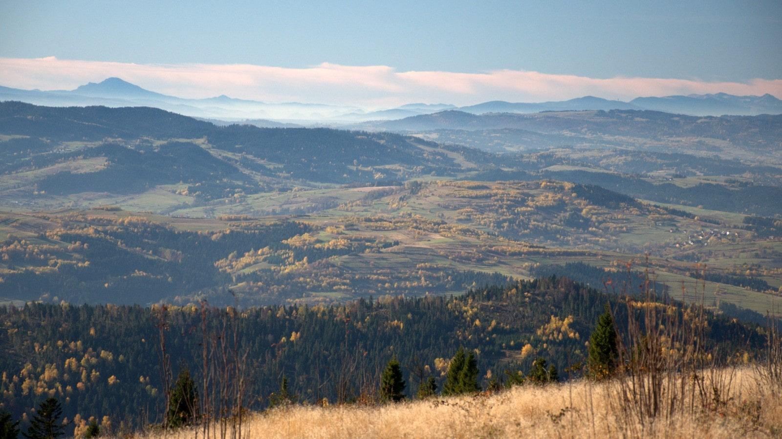 Mała Fatra i Góry Choczańskie widziane z Polany Michurowej